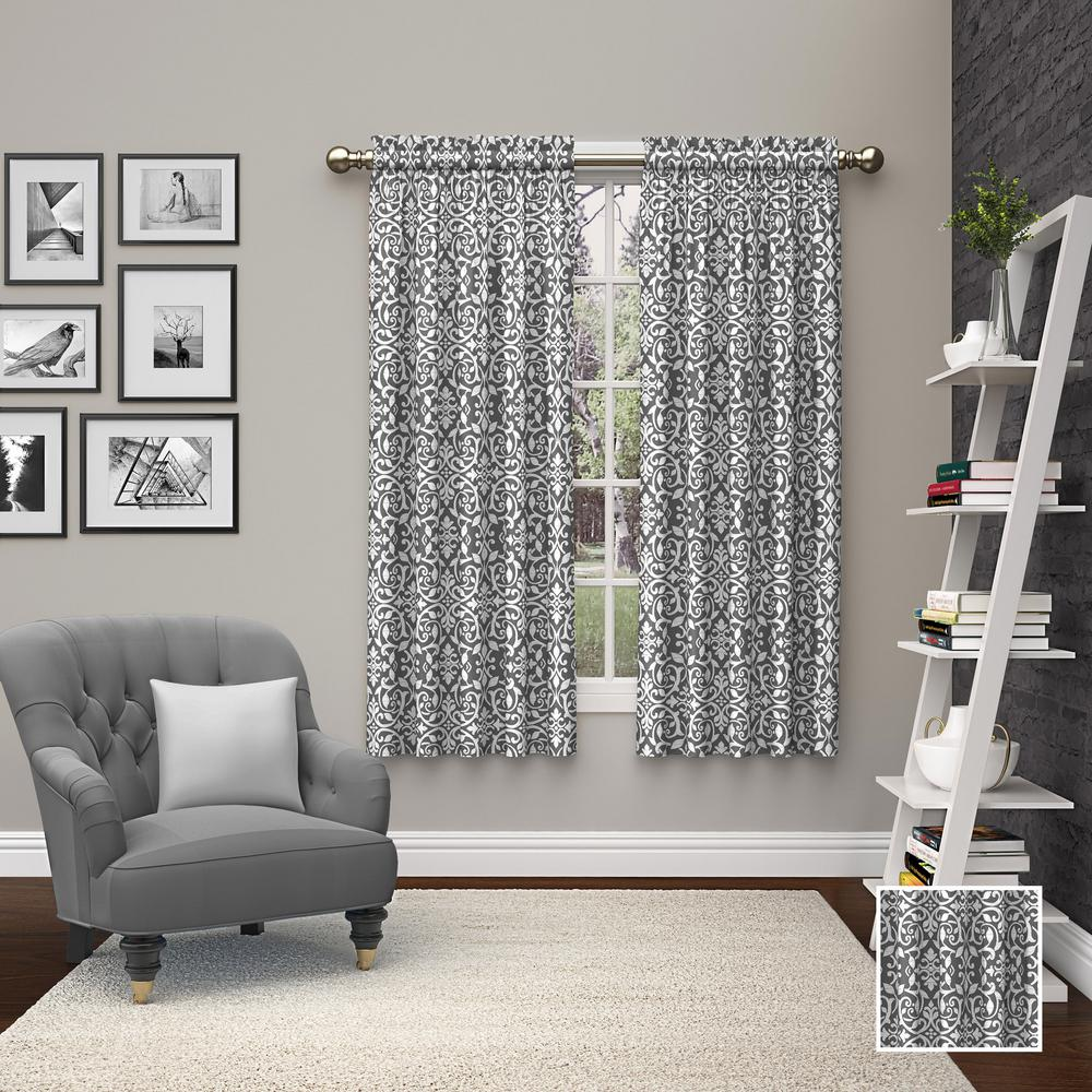 Pairs To Go Pinkney Window Curtain Panels In Charcoal 56 In W X