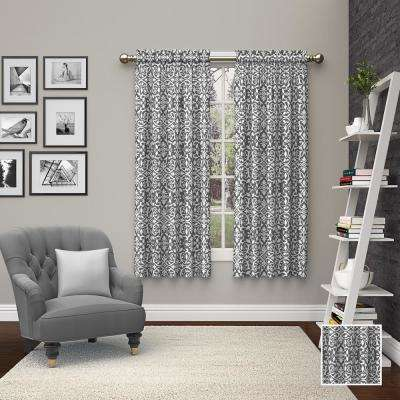 Pinkney 63 in. L Polyester Rod Pocket Drapery Panel Pair in Charcoal