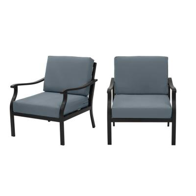 Riley Black Steel Outdoor Patio Lounge Chair with Sunbrella Denim Blue Cushions (2-Pack)