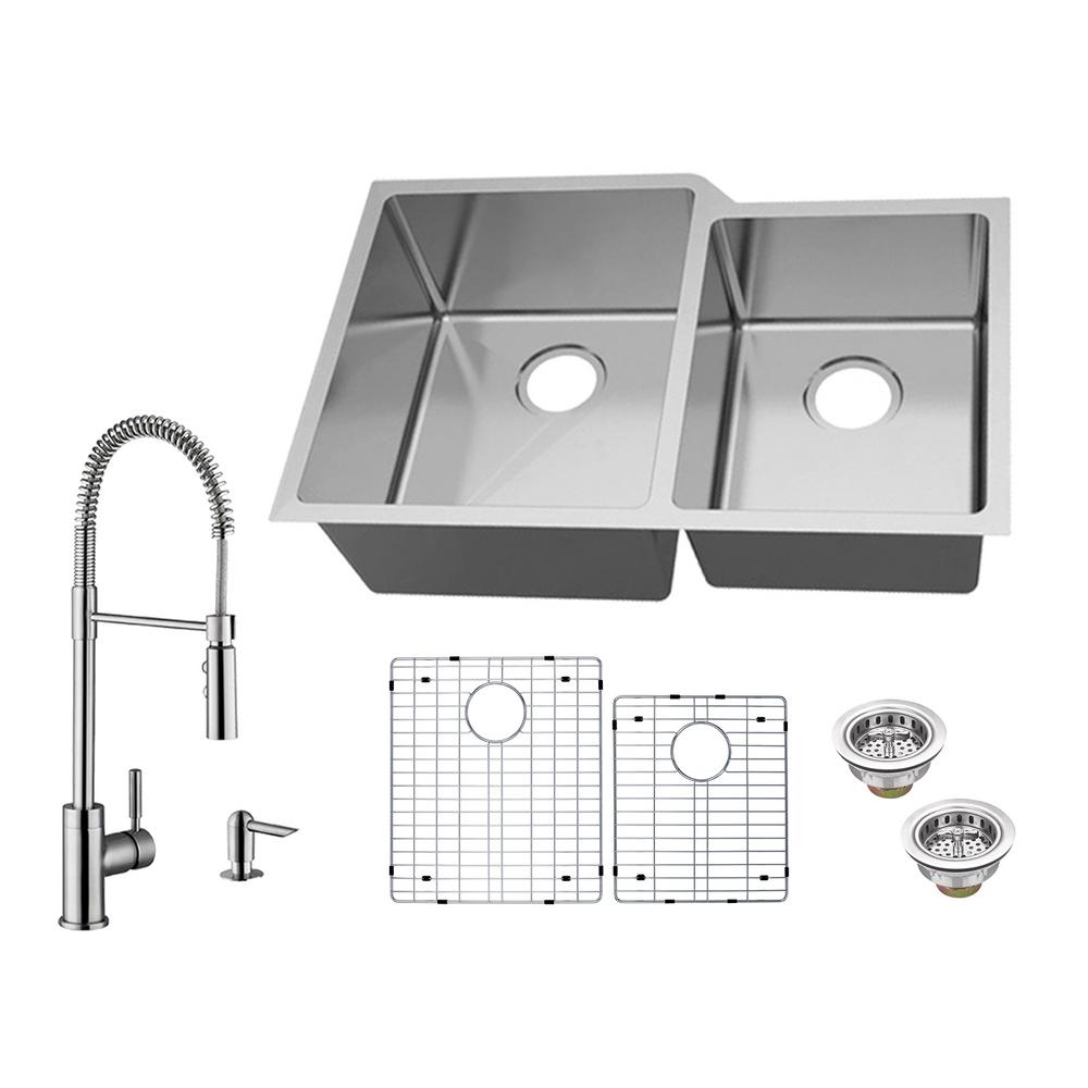 Glacier Bay All-in-One Undermount 18-Gauge Stainless Steel 31 in. 60 on 24 double bowl undermount sink, low divide sink, double bowl apron front sink, offset kitchen sink, blanco 40 60 sink, best 16-gauge kitchen sink, double kitchen sink, extra large kitchen sink, small round prep sink, 60 40 integrated kitchen sink, 60 40 stainless sink, elkay undermount sink, stainless steel deep sink, large stainless sink, laminate undermount sink, 24 kitchen sink, upc sink, mosaic tile sink, triple bowl kitchen sink,