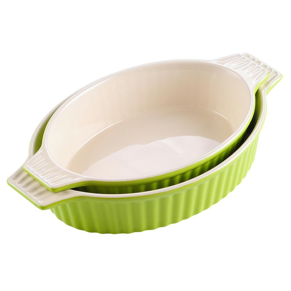 2-Piece Oval Green Porcelain Bakeware Set 12.75 in. and 14.5 in. Baking Pans