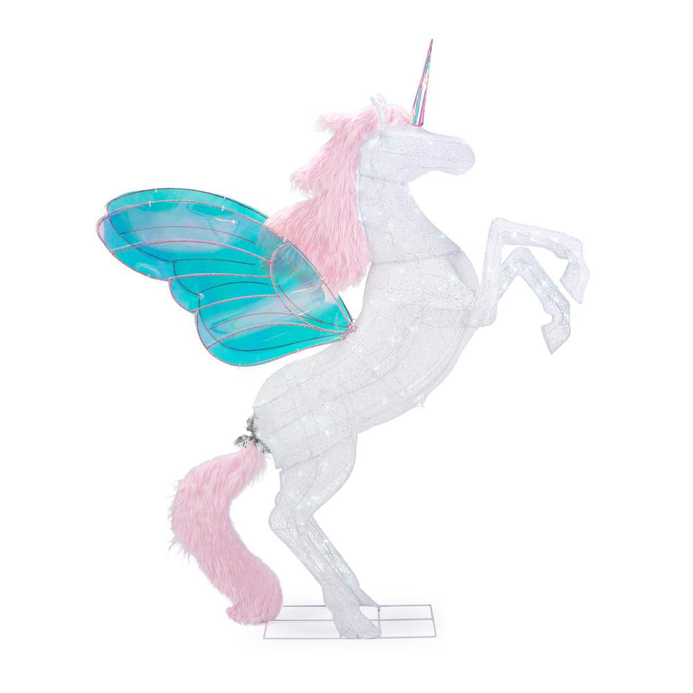 Home Accents Holiday Spirited Sparkle 72 in. Life Size Christmas Unicorn Yard Decoration with LED Lights