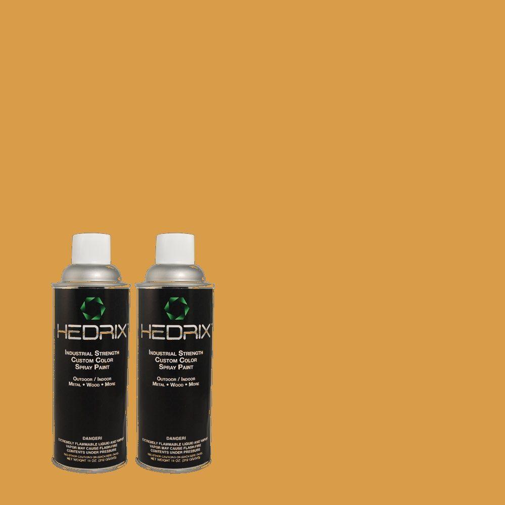 Hedrix 11 oz. Match of PPU6-2 Saffron Strands Flat Custom Spray Paint (8-Pack)