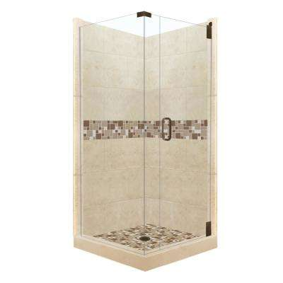 Tuscany Grand Hinged 36 in. x 36 in. x 80 in. Right-Hand Corner Shower Kit in Brown Sugar and Old Bronze Hardware