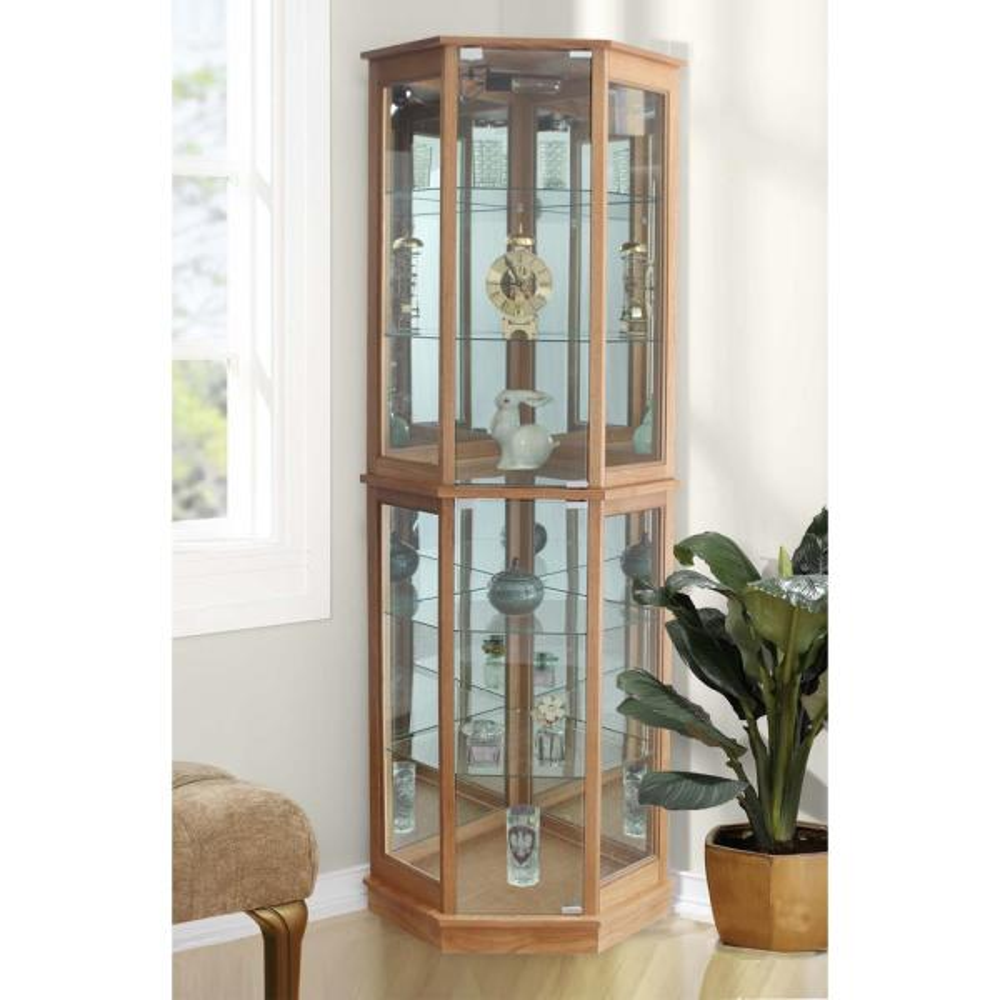 5 Sided Lighted Corner Curio Cabinet