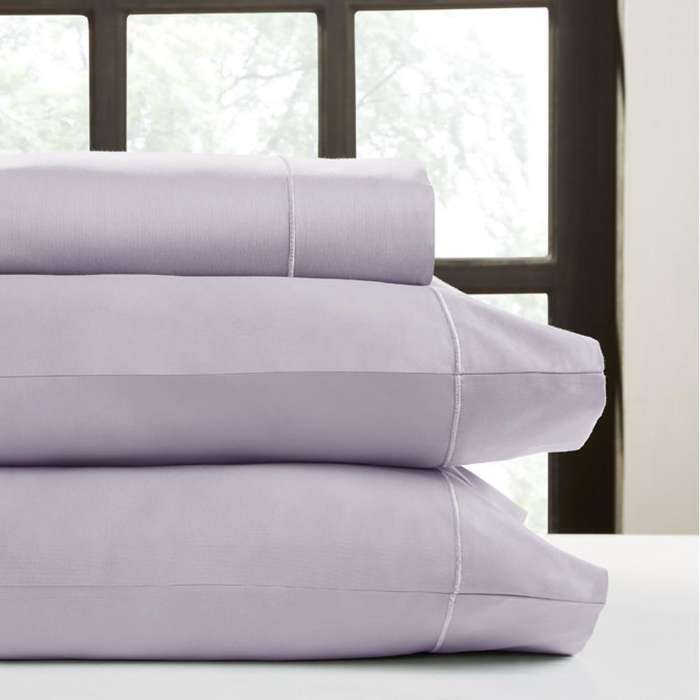 Lavender T700 Solid Sateen California King Sheet Set