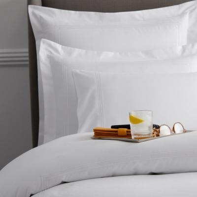 Dorset Stripe Legends Hotel White Embroidered 600-Thread Count Egyptian Cotton Sateen Oversized Queen Duvet Cover