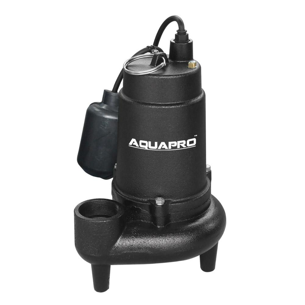 AquaPro 3/4 HP Submersible Sewage Pump with Piggyback Tether Float Switch