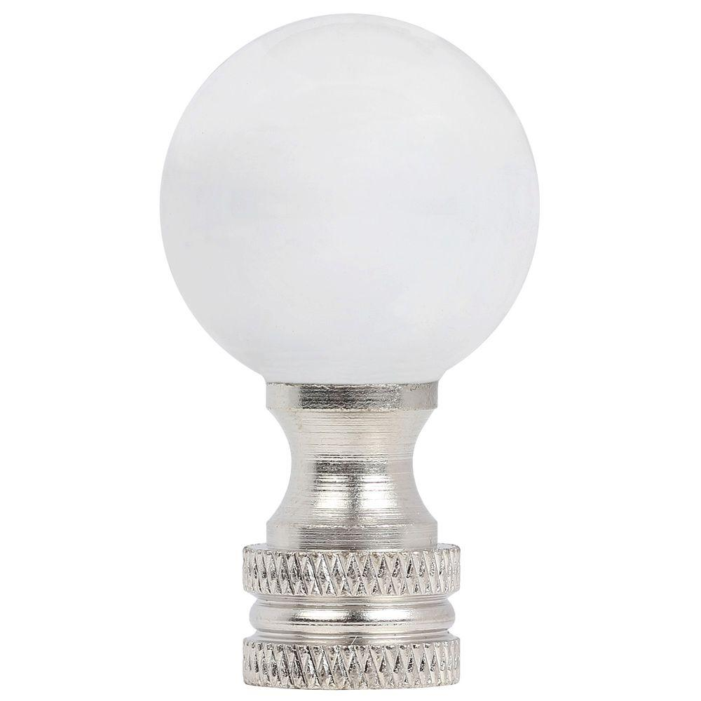 1-3/4 in. Clear Glass Ball and Brushed Nickel Lamp Finial