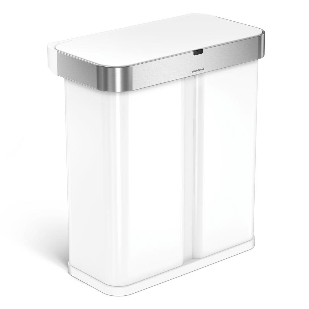 Simplehuman 15 3 Gal White Steel Dual Compartment