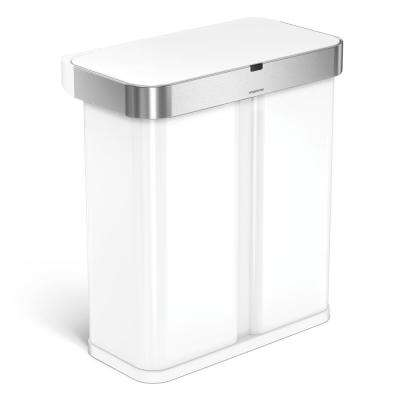 15.3 Gal. White Steel Dual Compartment Rectangular Sensor Recycling Trash Can with Voice and Motion Control