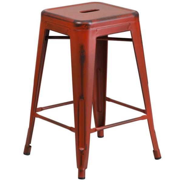 Distressed Red Bar Stool