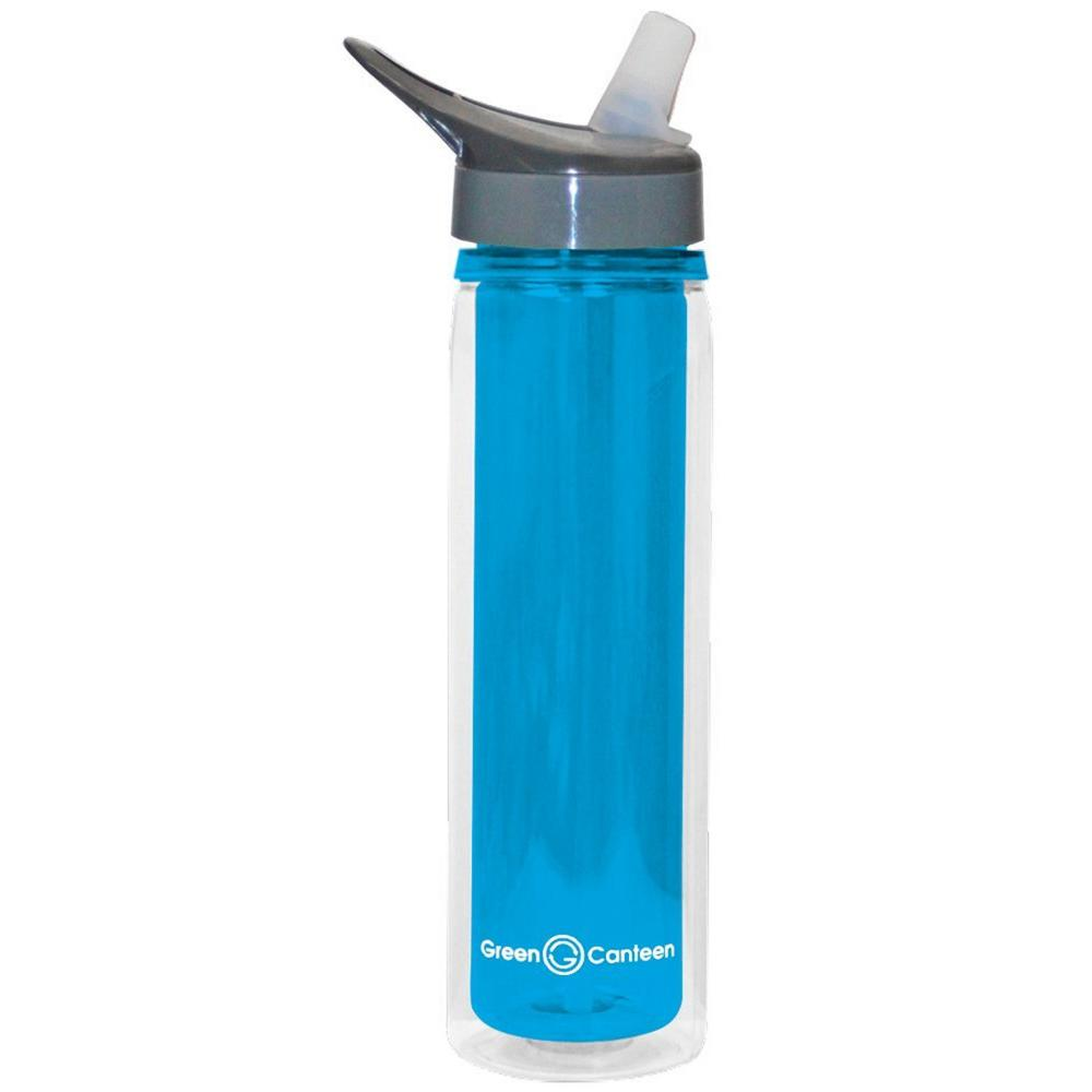 18 oz. Blue Double Wall Tritan Plastic Hydration Bottle with Sippy