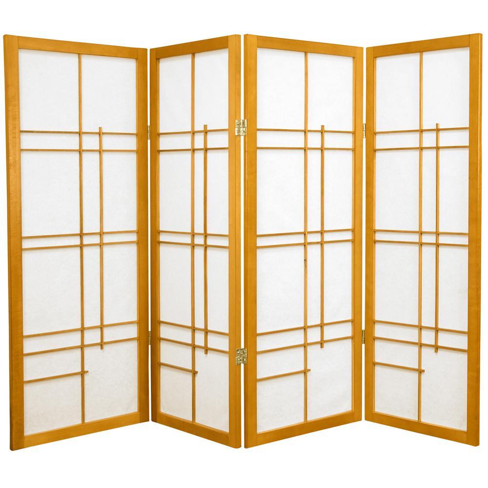 4 Ft Honey 4 Panel Room Divider Cleudes Hon The Home Depot