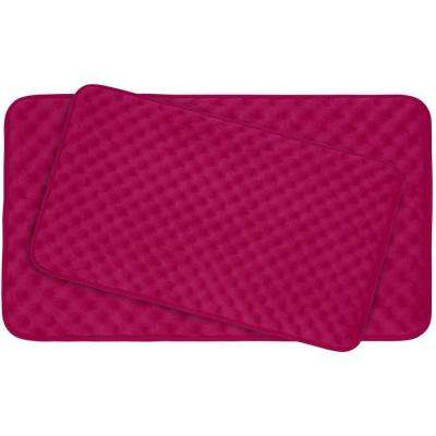 Massage Fuchsia Memory Foam 2-Piece Bath Mat Set