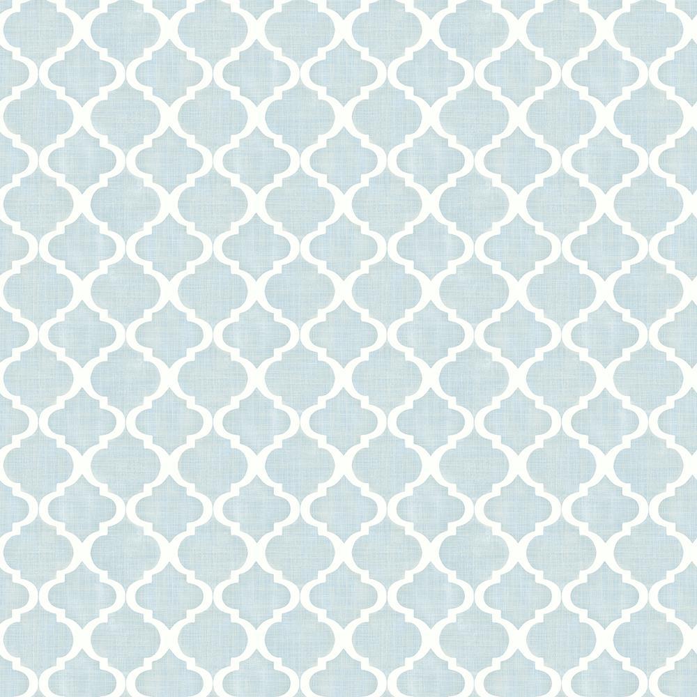 56 4 Sq Ft Watercolor Blue Quatrefoil Wallpaper
