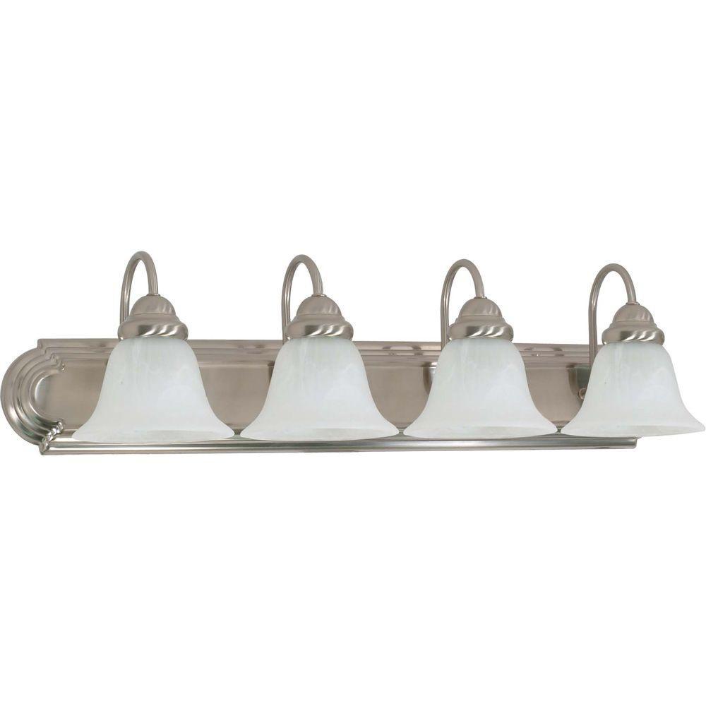 Glomar 4-Light Brushed Nickel Vanity Light with Alabaster Glass Bell Shade
