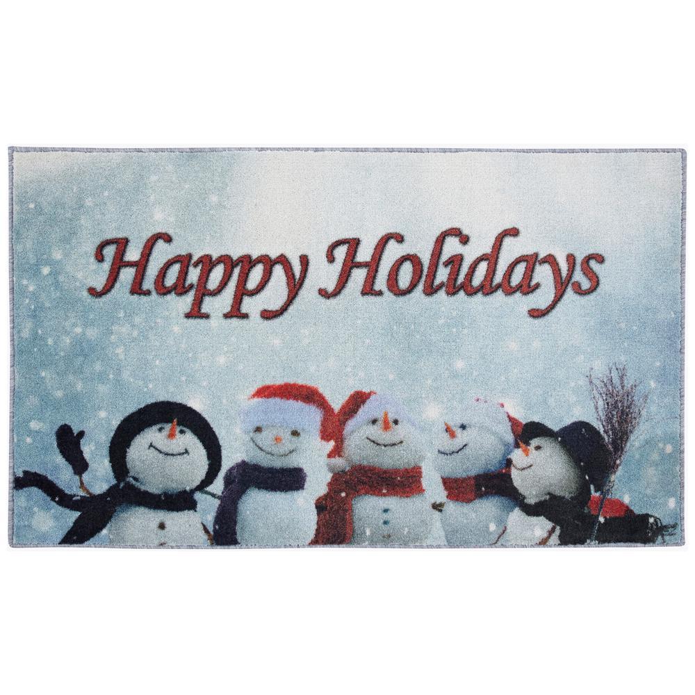 Snowmen Cheer Multi 2 ft. 6 in. x 4 ft. 2 in. Printed Area Rug