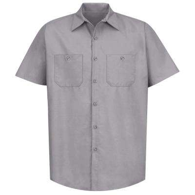Men's Size 2XL Silver Grey Industrial Work Shirt
