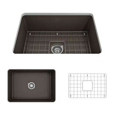 Sotto Undermount Fireclay 27 in. Single Bowl Kitchen Sink with Bottom Grid and Strainer in Matte Brown
