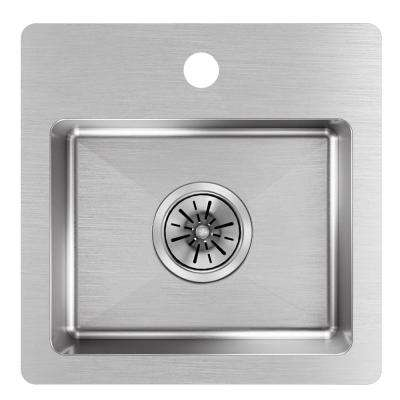 Crosstown Drop-In Stainless Steel 15 in. 2-Hole Single Bowl Kitchen Sink