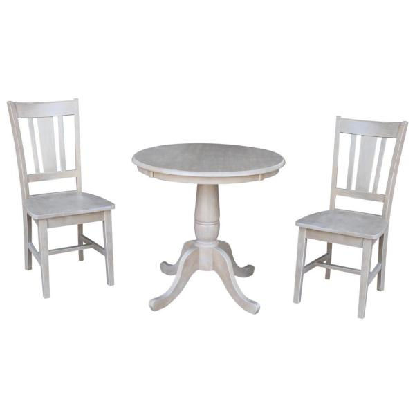 Hampton 3-Piece 30 in. Weathered Taupe Round Solid Wood Dining Set with San Remo Chairs