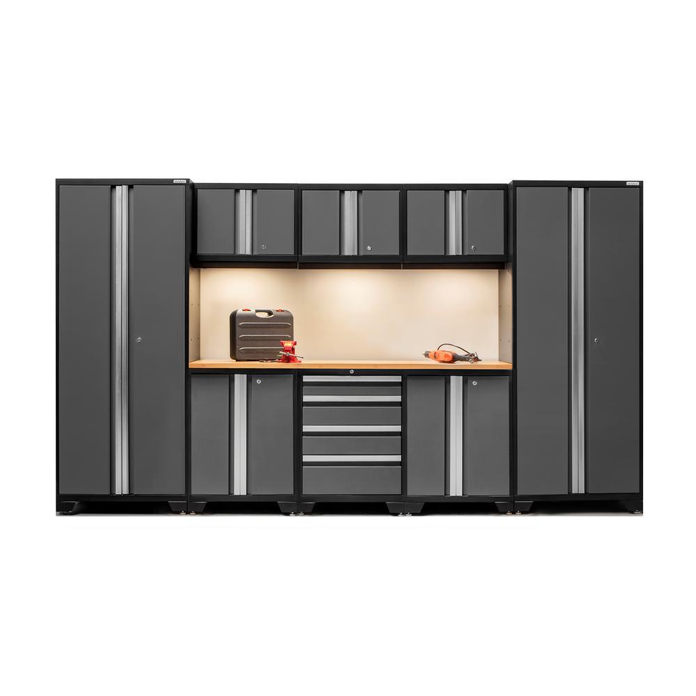 Bold 3.0 77 in. H x 132 in. W x 18 in. D 24-Gauge Welded Steel Bamboo Worktop Cabinet Set in Gray (9-Piece)