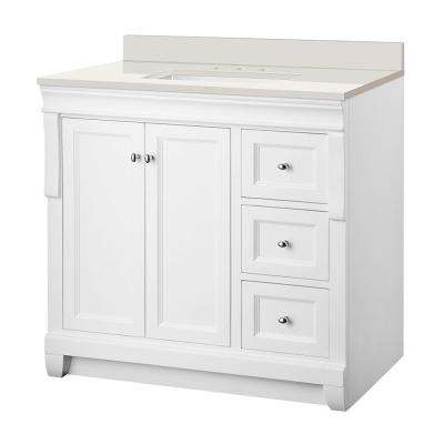 Naples 37 in. W x 22 in. D Vanity in White with Engineered Marble Vanity Top in Winter White with White Sink