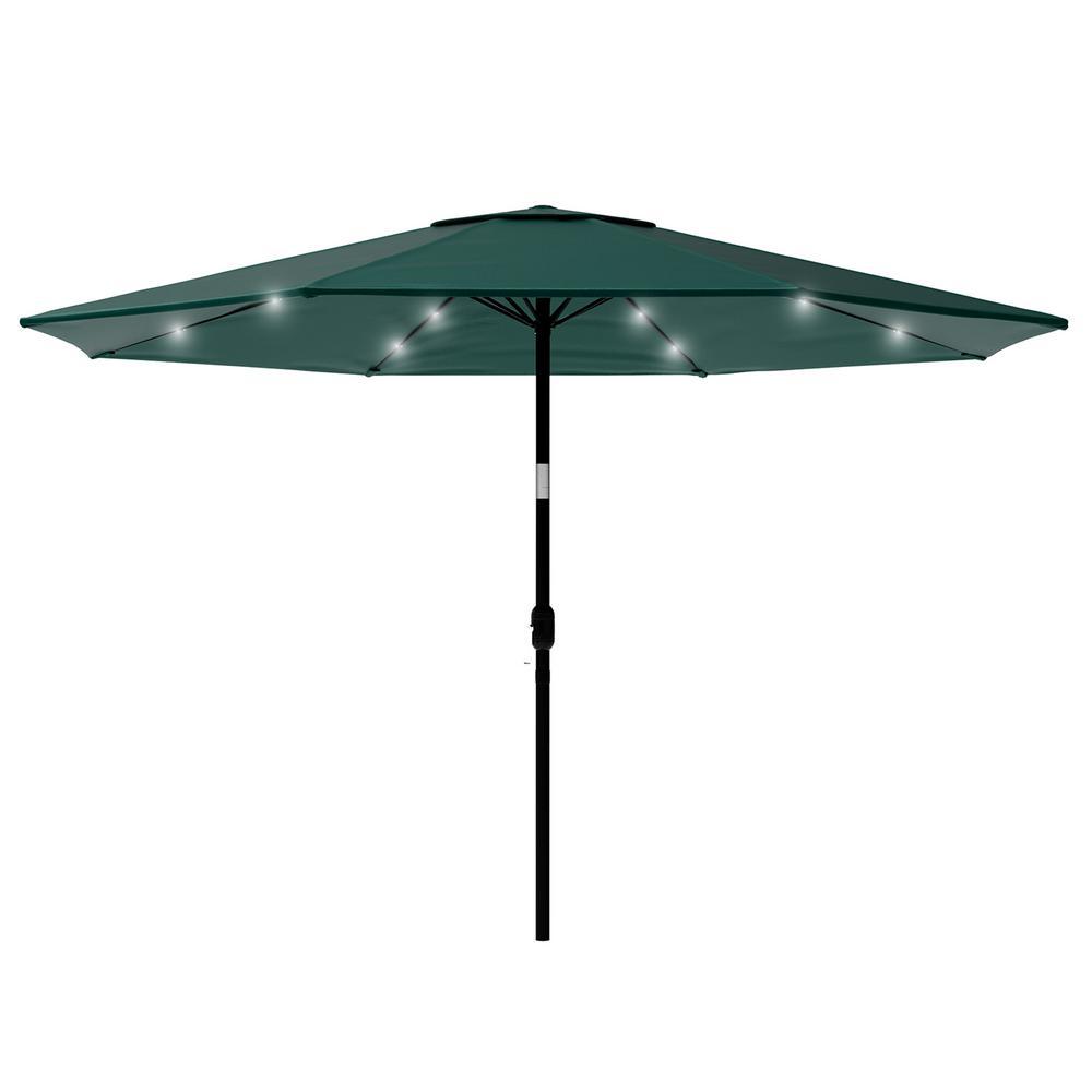 Pure Garden 10 Ft Aluminum Market Solar Tilt Led Lighted Patio Umbrella In Green Hw1500211 The Home Depot
