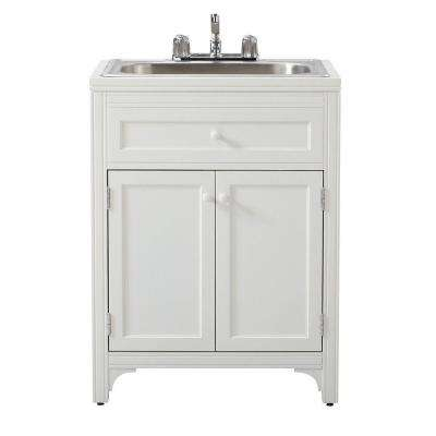 36 in. H x 27 in. W x 24 in. D Wood Laundry Storage Utility Sink Cabinet in Picket Fence