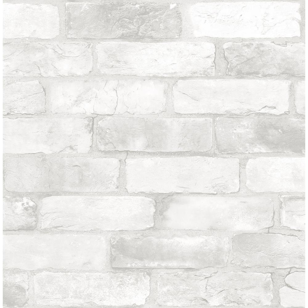 A-Street Rustin White Reclaimed Bricks Wallpaper 2922-22321
