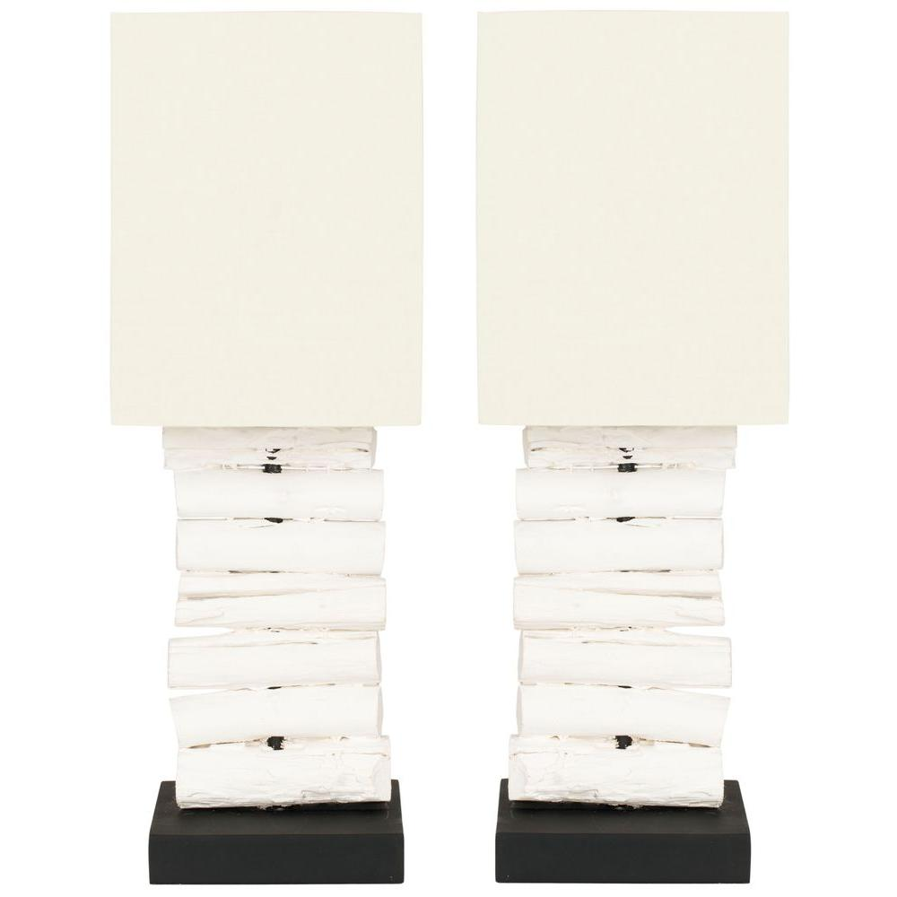 Safavieh Woodland 19.7 in. White Wash Mini Table Lamp with Off White Shade (Set of 2)