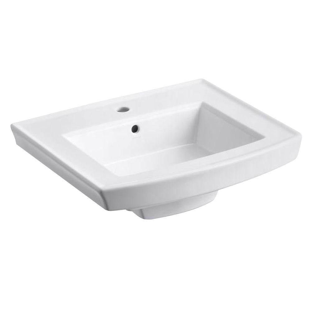 Archer 20.4375 in. Vitreous China Pedestal Sink Basin in White with