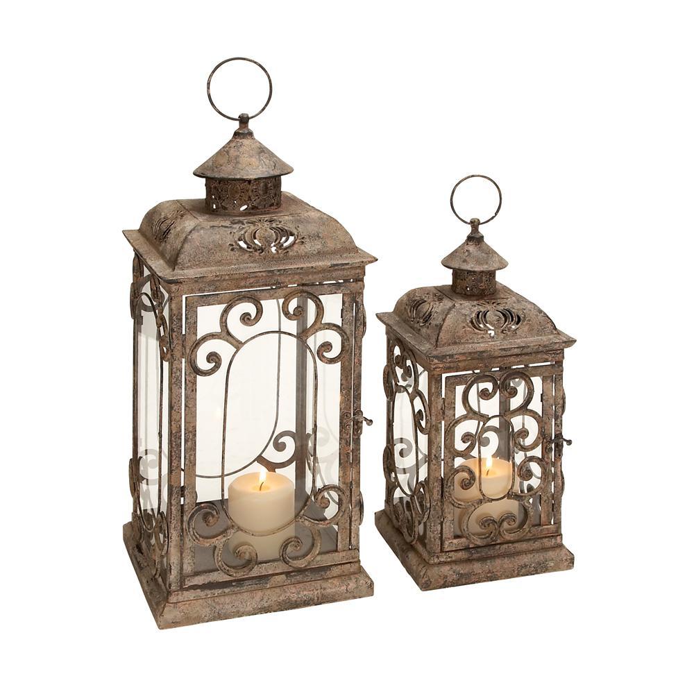 Set of 2 Vintage Lantern Ornate Metal Distressed Green Candle Holder Patio Lamp