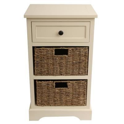 Urban Farmhouse Antique White 3-Drawer Basket End Table