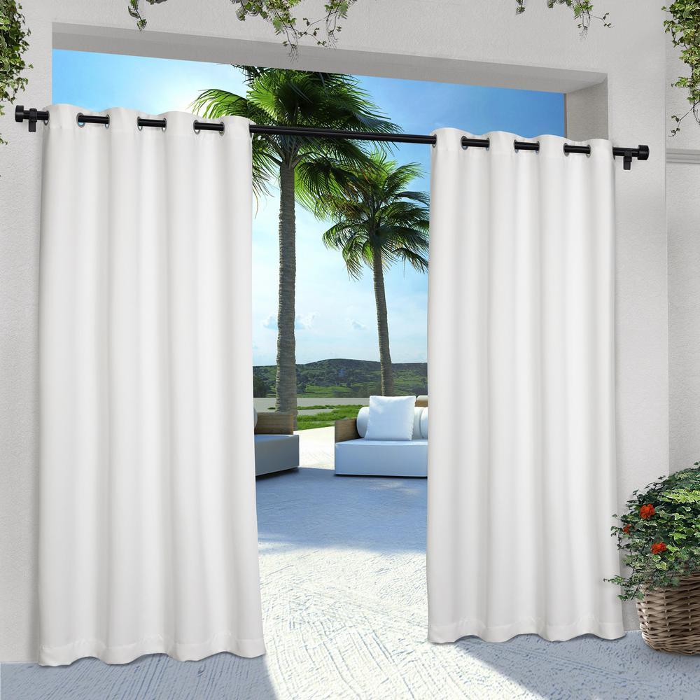 Indoor Outdoor Solid 54 in. W x 84 in. L Grommet Top Curtain Panel in Winter White (2 Panels)