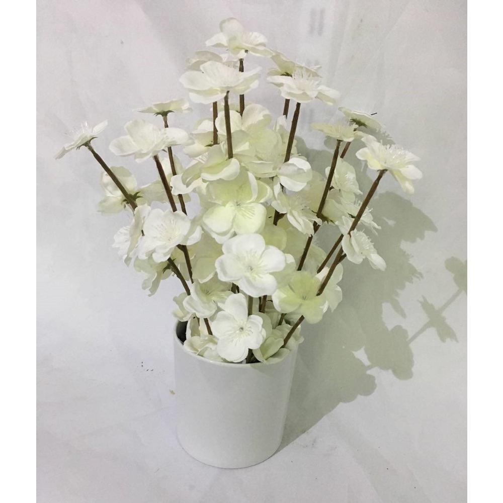 14 in. White Cherry Blossom in White Planters Pot