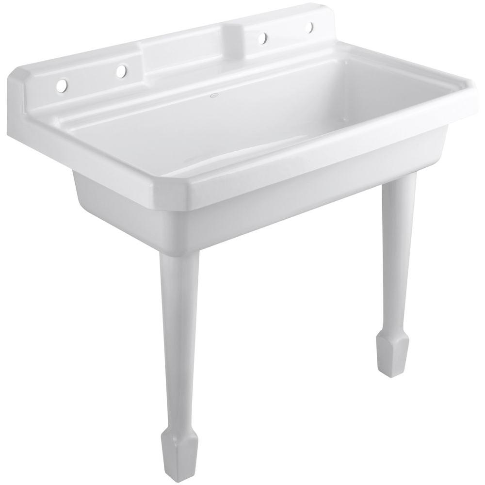 Harborview 48 in. x 28 in. Cast-Iron Top Mount/Wall Mount Utility