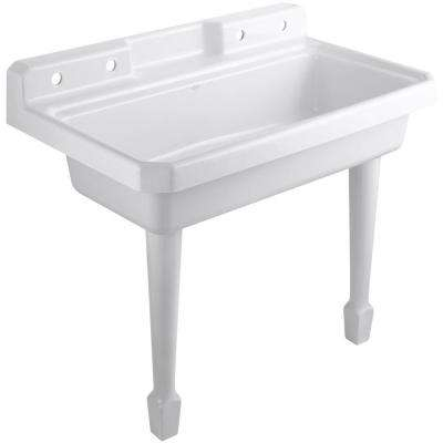 Harborview 48 in. x 28 in. Cast-Iron Top Mount/Wall Mount Utility Sink in White