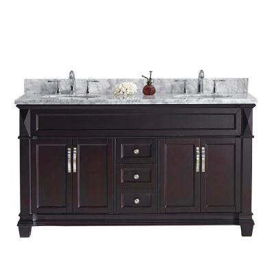 Victoria 60 in. W Bath Vanity in Espresso with Marble Vanity Top in White with Round Basin