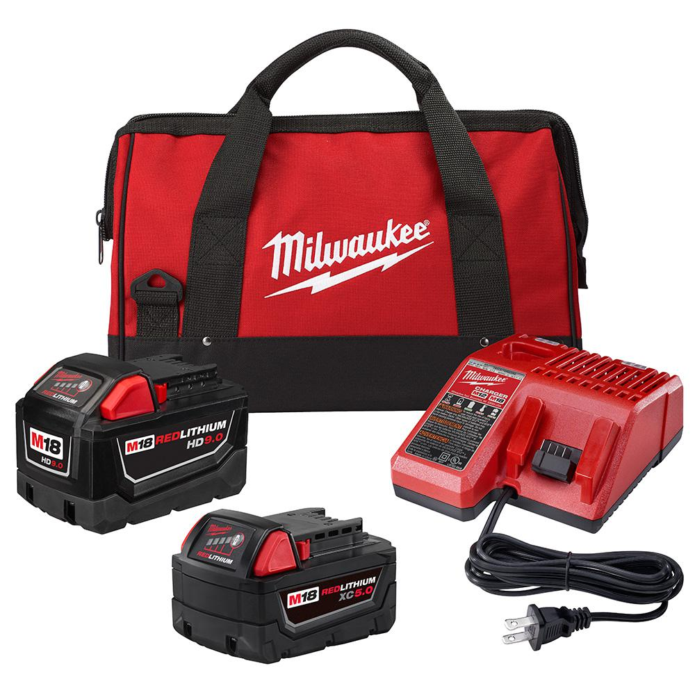 Milwaukee Milwaukee M18 18-Volt Lithium-Ion Starter Kit with One 9.0 Ah Battery and One 5.0 Ah Battery and Charger