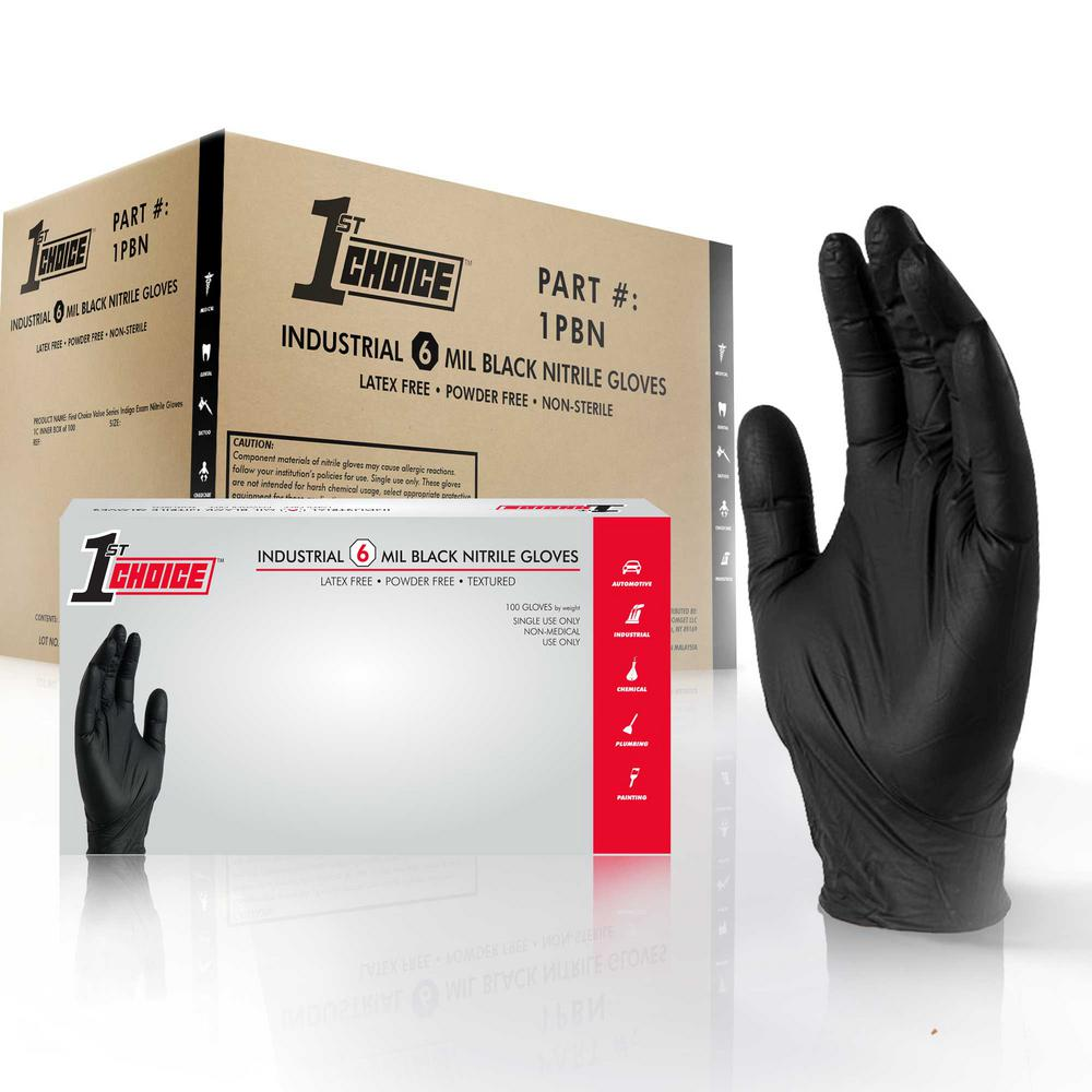 Large Black Nitrile Industrial Powder-Free Disposable Gloves (10-Boxes of 100-Count)
