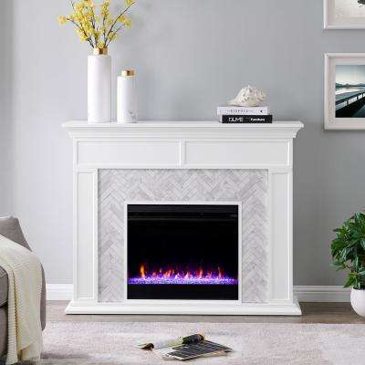 Doris Marble Color Changing 50 in. Electric Fireplace in White and Gray