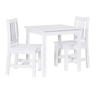Keena 3-Piece White Kid Table and 2-Chairs Set