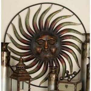 37 inch Global Inspired Bronze Finish Celestial Sun Iron Wall Decor by