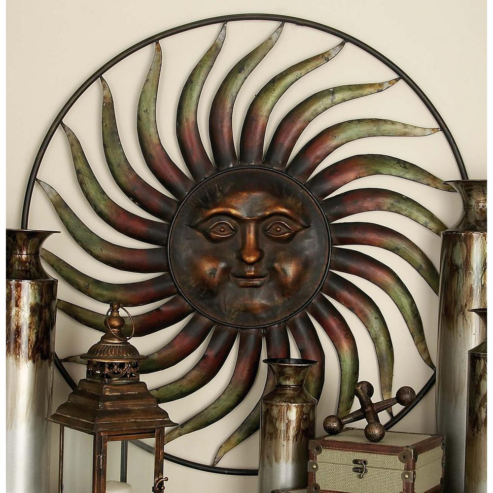Details About Global Inspired Bronze Finish Celestial Sun Style Iron Wall Decoration 37 In