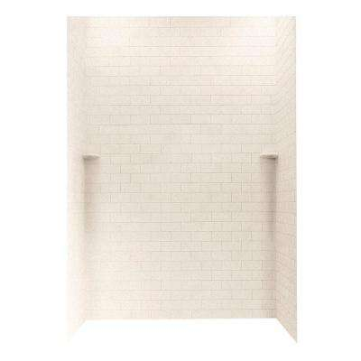 Subway Tile 36 in. x 62 in. x 96 in. 3-Piece Easy Up Adhesive Alcove Shower Surround in Tahiti Sand