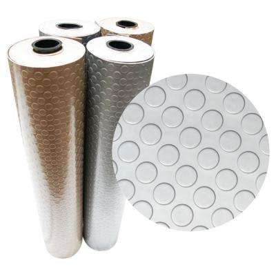 """""""Coin-Grip Metallic"""" 4 ft. x 8 ft. Silver Commercial PVC Flooring"""