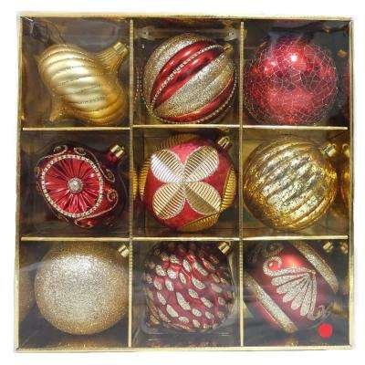 130 mm red ornaments set 9 count
