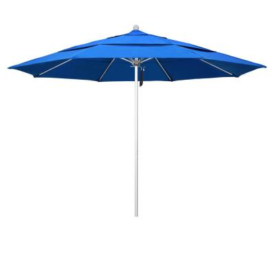 11 ft. Market Silver Anodized Fiberglass PO DVent Patio Umbrella in Royal Blue Olefin